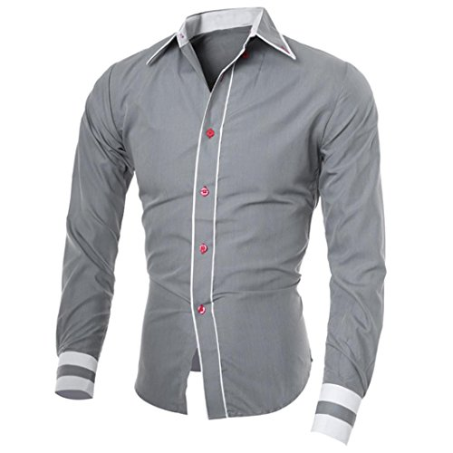 Xinantime Camiseta Hombres,Xinan Blusa Ropa Hombre de Manga Larga Camisetas (XXL, Gris)