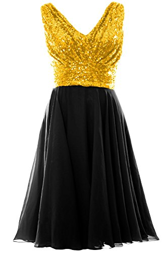 MACloth Women V Neck Sequin Chiffon Short Bridesmaid Dress Formal Evening Gown Gold-Black
