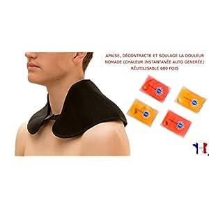 Nackenwärmer I Nackenkissen I Schulterwärmer incl. 4 wiederverwendbare Taschenwärmer – Hilft bei Schmerzen, Verspannungen – sofort warm ohne Strom, mit Klettverschluss – von TRANQUILISAFE