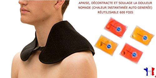 TRANQUILISAFE® Nackenwärmer I Nackenkissen I Schulterwärmer incl. 4 wiederverwendbare Taschenwärmer – Hilft bei Schmerzen, Verspannungen - sofort warm ohne Strom, mit Klettverschluss