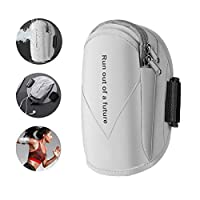 FULAISI Running Armband Sports Phone Holder Workout Gym Arm Bag Band Water Resistant (Grey)
