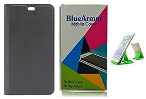 BlueArmor Leather Flip Cover Case for Oppo F1s - Black & Mobile Stand