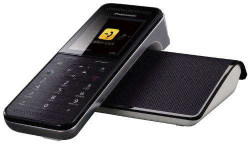 Panasonic KX-PRW110GW Design-Schnurlostelefon (5,6 cm (2,2 Zoll) TFT-Farbdisplay, Smartphone Connect) schwarz