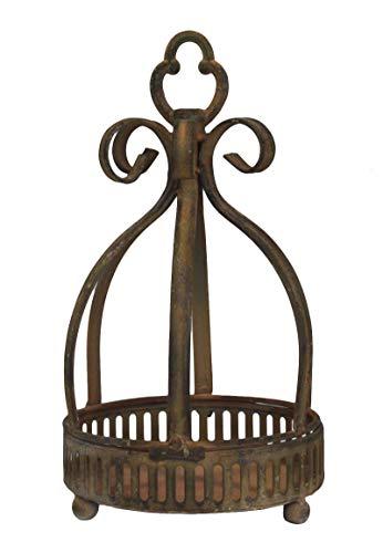 keyhome porta vaso porta piante in ferro con decorazione ricci effetto ruggine - altezza cm 30