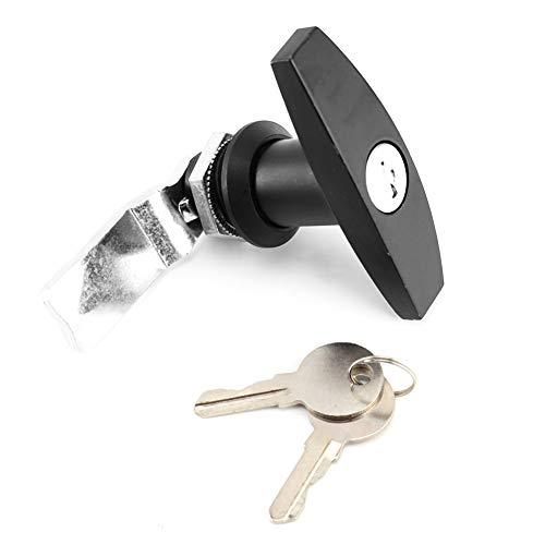 T-Griff-Verriegelung, hintere Befestigung T-Griff-Verriegelungsbox Garagentor-Verriegelung Universeller T-Form-Verriegelungsgriff mit Schlüsseln für Wohnwagen-Überdachung(Schwarz)