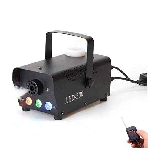 Nebelmaschine,500W Mini Nebelmaschine mit Led und Drahtlose Fernbedienung für Halloween Hochzeit Theater Party Disco Club DJ Lichteffekt -