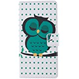 tinxi® PU Kunst Leder Tasche für Wiko Highway Schutzhülle Flipcase Schale Etui Skin Standfunktion mit Karten Slot schlafsüchtige Eule Owl