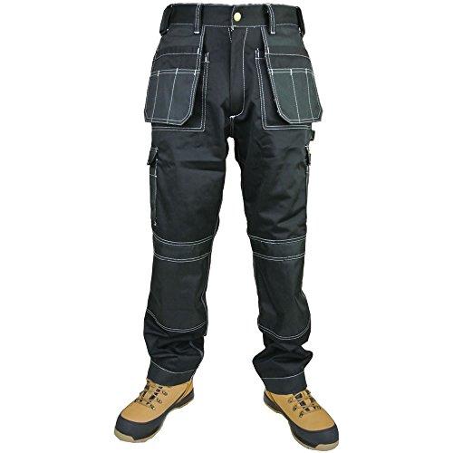 Knie-pocket Canvas Hose (Arbeit Hosen-, Tuff Multi Pocket HEAVY DUTY Combat Arbeiten Hosen-, Trade Extreme Pro Hose, dreifach vernäht Work Wear für Männer und Frauen von Armee und Workwear Gr. 32 W/30 L, schwarz)