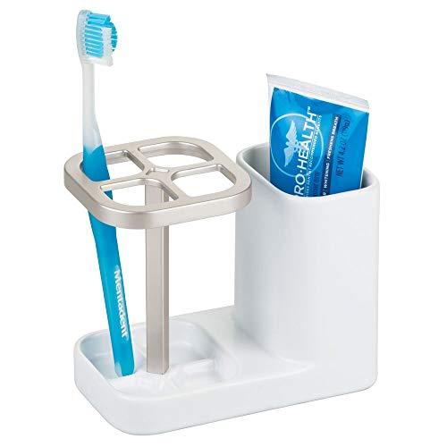 mDesign Zahnbürstenhalter aus Keramik - hochwertiger Zahnputzbecher für Waschbecken oder Badschrank - ideale Halterung für Zahnbürsten sowie Zahnpasta - weiß