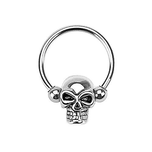 beyoutifulthings TOTENKOPF-RING Brustwarzen-piercing Intim-piercing Brust-piercing Edelstahl SILBER Ring-stärke 1,2mm Kugelgröße 3mm
