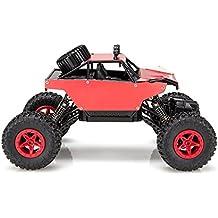 Virhuck 1139 (A) 1/18 Scale 4WD Rock Crawler con Carcasa Metálica,2.4GHz Vehículo Todoterreno RC Car 4MPH Regalos de Navidad presentes(Rojo)