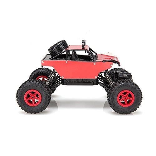 Virhuck 1:18 RC Truck Amphibious Ferngesteuertes Auto, 2.4GHz, 4WD, Doppelmotor Rock Crawler Auto Off-Road, Metallgehäuse Unterstützt DIY Malerei und Aufkleber (Rot) (Rc Crawler Trucks)
