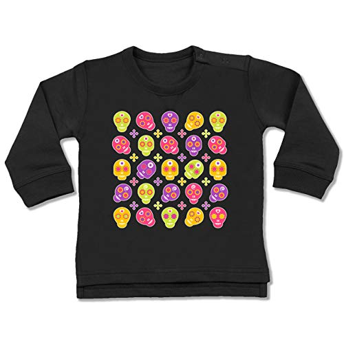 Shirtracer Up to Date Baby - Candy Skull - 12-18 Monate - Schwarz - BZ31 - Baby (Skull Candy Kostüme)