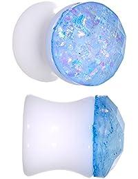 BodyCandy Unisex 2Pc Acrílico Blanco 10mm Montura Pendientes Calibre Pieza Azul Galaxia Tapón para Oídos Dilataciones