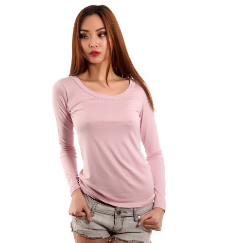 Young Fashion Basic Shirt Longsleeve Langarm Shirt Damen Altrosa