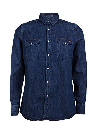 Mustang Herren Jeanshemd mit Brusttaschen Blau - Blue Blue (540)