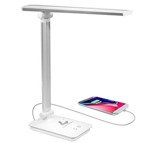 LED Schreibtischlampe Dimmbar,Berührungsempfindlich blendfrei,3 Helligkeitsstufen 5 Farbmodi Leselampe mit USB-Ladeanschluss,Wiederaufladbare Energiesparlampe zum Aufladen von Smartphones,weiß -