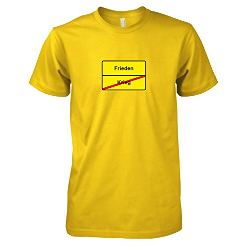 TEXLAB - Schluss mit Krieg Schild - Herren T-Shirt, Größe XXL, gelb
