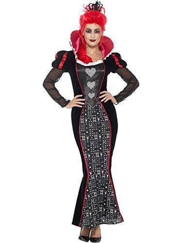 Smiffys Damen Deluxe Barocke Dunkle Königin Kostüm, Kleid und Kopfband, Größe: 40-42, 46856 (Dunkle Königin Kostüm)