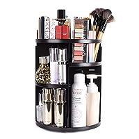 sanipoe 360 Rotating Makeup Organizer, DIY Adjustable Makeup Carousel Spinning Holder Storage Rack, Large Capacity Make up Caddy Shelf Cosmetics Organizer Box, Best for Countertop, Black