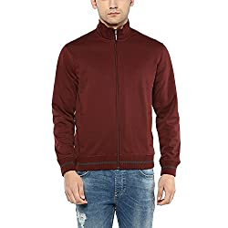 Wills Lifestyle Mens Zip Through Solid Sweatshirt_Maroon_Medium