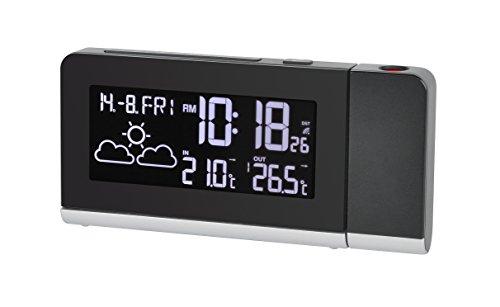 Bresser Funkwetterstation Temeo MC mit 256 Farben Display, Projektionsanzeige für Temperatur und Uhrzeit, Weckfunktion und 12 Stunden Wettervorhersage, inklusive Außensensor