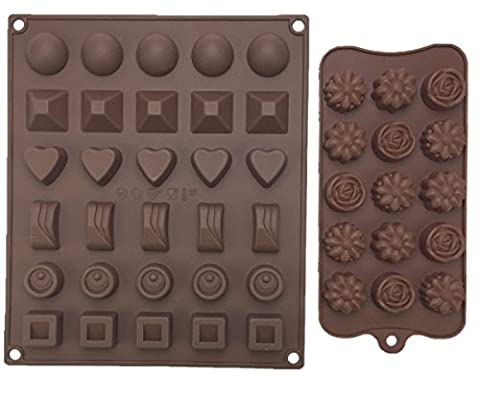 Lillypet 2-Pack Silicone Chocolate Molds Brown Non-stick Silicone Square Chocolate Cady molds for Making Homemade Chocolate Peanut Butter Cup, Gummy,Jelly and More