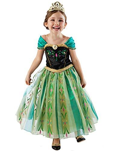 NICE SPORT Robes Enfant Princesse Anna La Reine des Neiges Cosplay Costume Déguisement Cadeau Anniversaire/Noël/Carnaval/Halloween - Bleu - Taille 160cm (8-9 ans)
