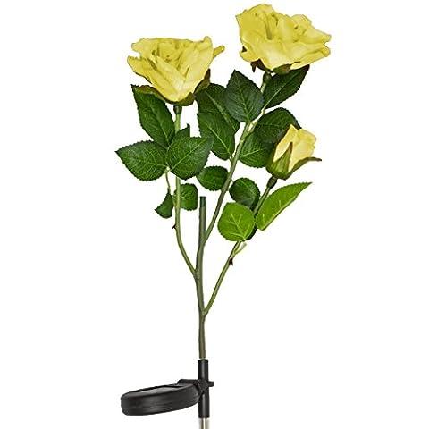 Lampes solaires de fleur de rose jaune, fonctionne à l'énergie solaire Jardin extérieur décoratif Paysage LED Rose lumières toute l'année, idée cadeau