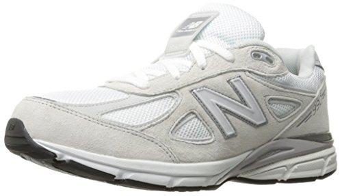 New Balance Boys' 990 V4 Running Shoe, White/Silver, 12 M US Little...