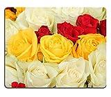(Präzision gesäumte) Naturkautschuk-Mausunterlage Gelbe Rote und weiße Rosen in Einem Wedding centerpiece3