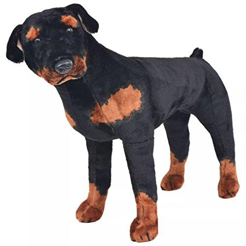 Festnight Jouet en Peluche pour Enfant Chien de Race Rottweiler Marron et Noir XXL