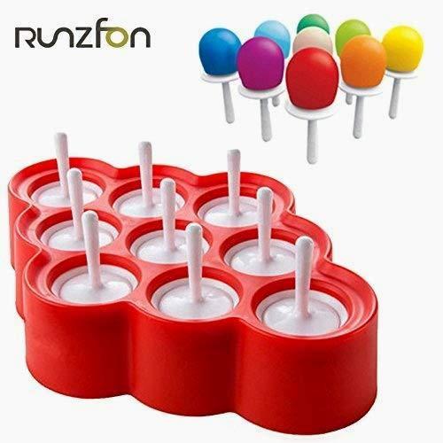 Beito 9pcs Silikon Mini Moulds EIS am Stiel Moulds Ice Pop/Lolly/Werkzeug-Set Creme für die Geschenke des Geburtstags der Partei Spielzeugs (rot)