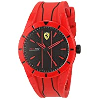 Ferrari Men's Quartz Watch, Analog Display and Silicone Strap 840019, Red Band