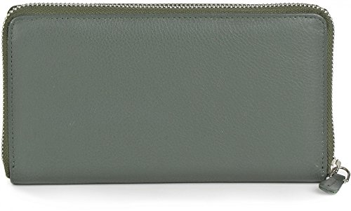 PHIL+SOPHIE, Damen Geldbörsen, Geldbörsen, Börsen, Portemonnaies, Brieftaschen, 19 x 10 x 2 cm (B x H x T), Farbe:Dunkelgrün