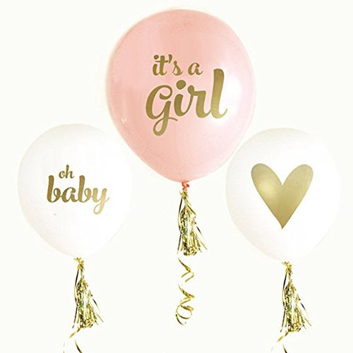 12'' Latex Balloon Gold Print It's A Girl with Gold Tassel Set for Baby Shower Party(Pack of 6) Baby Baptism