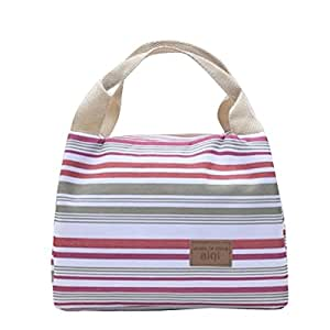 ReaLegend Lunch Bag Cooler Carry Bag Reusable Lunch Bag Insulated Tote Bag Picnic Food Holder Bento Lunch Pouch Travel Totes - Strip Gray+Red