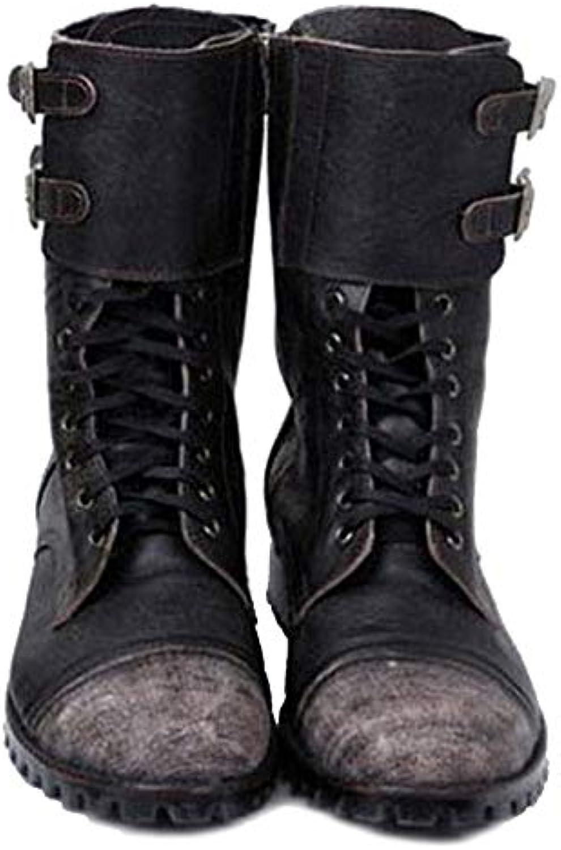 MERRYHE Cintura da Uomo Fibbia Lace Up Zipper PU Leather Mid Calf Stivali da Combattimento Esercito Militare Tactical... | In Linea  | Uomo/Donna Scarpa