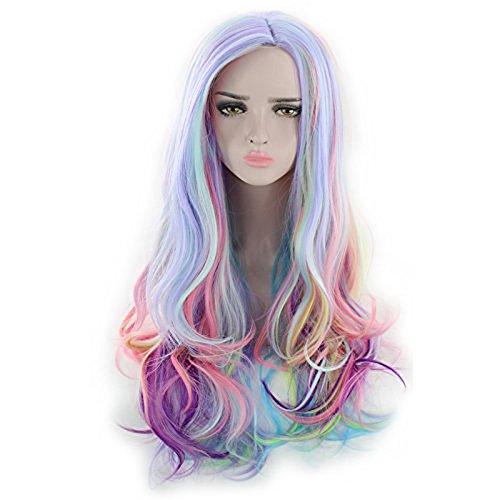 ücke Frauen Volle Perücke Lange Lockige Haar Hitzebeständige Perücken Kostüm Perücken für Cosplay Partei Mischfarbe mit 1 Freie Perücke Kappe ()