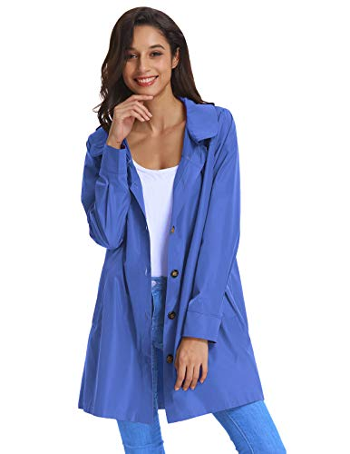 Kate Kasin Womens Lightweight Hooded Waterproof Solid Color Active Outdoor Raincoat Jacket with Pockets S~XXXL 822