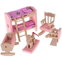 Ensemble de Mobiliers de Chambre des Enfants Miniature Jouet en Bois Meubles pour Maison de Poupée