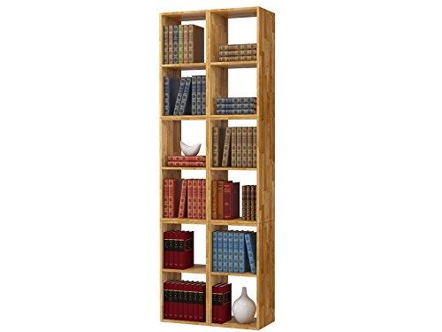 Regal, Bücherregal, Hoch Bücherregale, hohes Bücherregale, Lowboard, Wohnwand, Wandregal-Set, Bibliothek COMFORT mit offenen Fächer, Eiche massiv, geölt (288×209) - 4