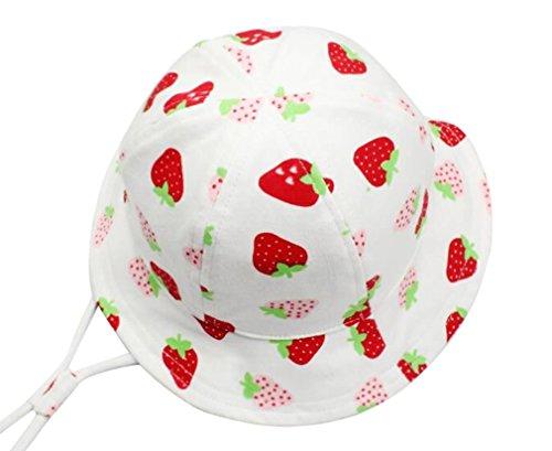 DEMU Baby Kleinkinder Fischerhut Strandhut Sommerhut Sonnenschutz Kappe Mütze (Erdbeere, Hut Umfang 48cm) -