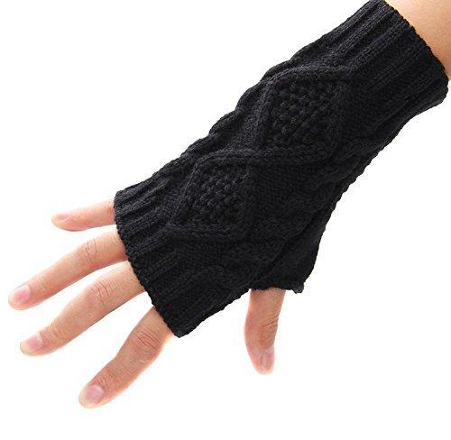 Butterme Winter Handgefertigt Gestrickte Fingerlose Armstulpen Warm Strick Handschuhe Pulswärmer Handstulpen Armwärmer Stulpen für Damen Mädchen Schwarz