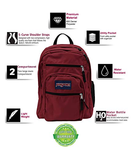 JanSport Big Student Backpack (Viking RED) Image 2