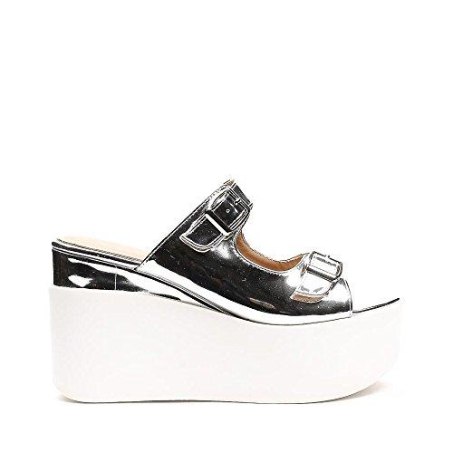 Ideal Shoes Sandales Vernies à Plateforme Lalyna Argent