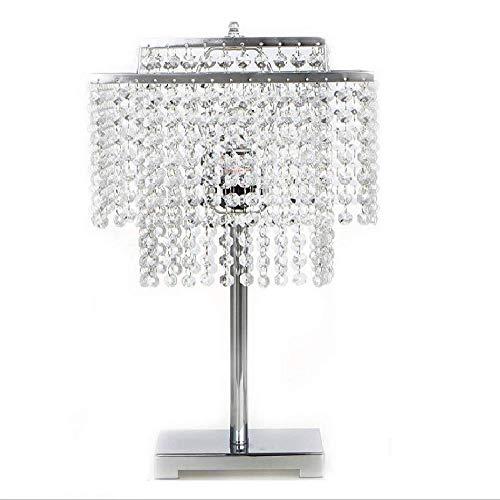 WXCCK Lámpara De Mesa De Cristal con Base De Metal con Perlas De Gota De Lluvia De Diseño Elegante Y Base De Metal (Base No E26), Lámparas De Mesa De Noche para La Sala De Estar del Dormitorio