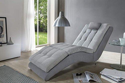 Liege Relaxliege MURO Stoff Grau Fußteil verstellbar