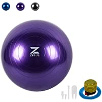 ZELUS 65cm/75cm Yoga Ball Gymnastikball Fitnessball Pilatesball Pezziball Sitzball inkl Luftpumpe Rutschfest