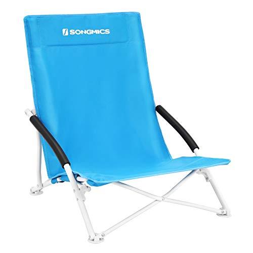 SONGMICS Unisex-Adult Campingstuhl Strandstuhl Klappstuhl Belastbarkeit bis 140 kg Robustes 600D Oxford-Gewebe Blau GCB61S, Himmelblau 76,5x16x9,5